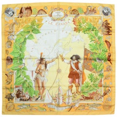 Hermes Orange La Nouvelle Silk Scarf