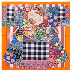 Hermes orange L'ART DU SARASA 90 silk twill Scarf