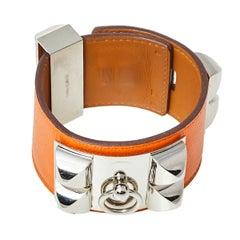 Hermès Orange Leather Collier de Chien Cuff Bracelet S