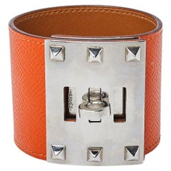 Hermès Orange Leather Extreme Kelly Bracelet S