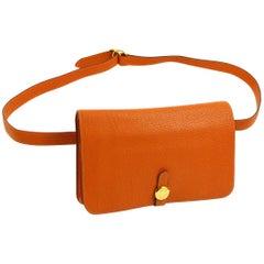 Hermes Orange Leather Gold Men's Women's Fanny Pack Waist Belt Bag in Box