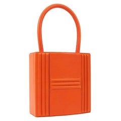 Hermes Orange Leather Gold Pad Lock Small Mini Evening Top Handle Satchel Bag