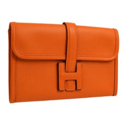 Hermes Orange Leather 'H' Small Mini Logo Evening Clutch Flap Bag