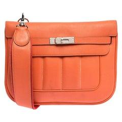 Hermes Orange Leather Palladium Hardware Berline Bag