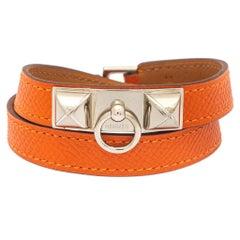 Hermès Orange Leather Palladium Plated Rivale Double Tour Bracelet M