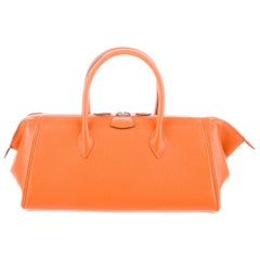 Hermes Orange Leather Palladium Zip Top Handle Satchel Carryall Tote Bag