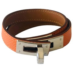 Hermes Orange leather & Silver Palladium Craie Epsom Kelly Double Tour Bracelet