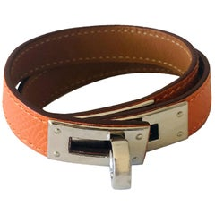 Hermes Orange leather & Silver Palladium Craie Epsom Kelly Double Tour Bracelet