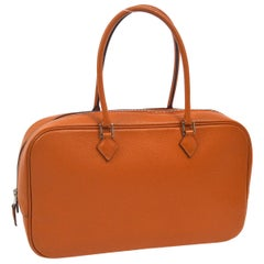 Hermes Orange Leather Silver Small Carryall Top Handle Satchel Bag