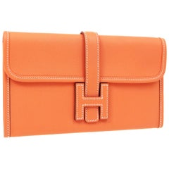 Hermes Orange Leather Small Top Handle Evening 2 in 1 Clutch Wallet Bag