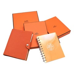 Hermes Orange Leather Small Ulysse Notebook Cover & Refills
