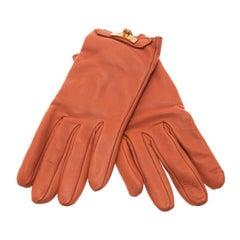 Hermes Orange Leather Soya Gloves Size 8