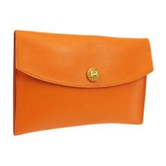 Hermes Orange Leather Wood 'H' Logo Envelope Evening Clutch Bag