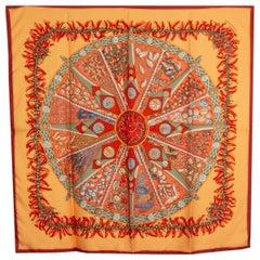 Hermes orange LES PAYS DES EPICES 90 silk twill Scarf