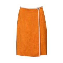 Hermes Orange Linen look Wrap Skirt