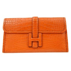 Hermes Orange Matte Alligator Exotic  'H' Logo Envelope Evening Clutch Bag