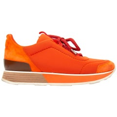 Hermes Orange Miles Platform Sneakers