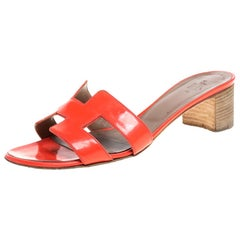 Hermes Orange Patent Leather Oasis Slides Size 37.5