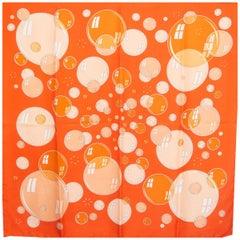Hermes orange pink BAL DES BULLES 90 silk twill Scarf