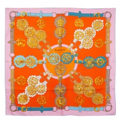 Hermes orange pink CUIVRERIES 90 silk twill Scarf