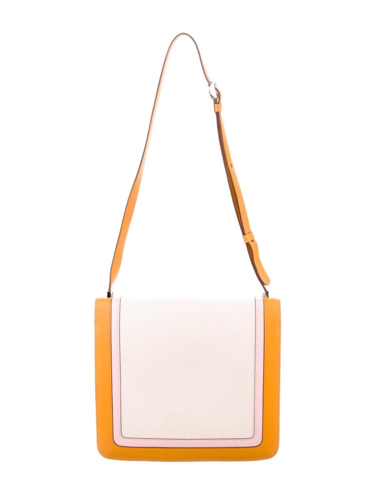 White Hermes Orange Pink Leather Canvas Top Handle Satchel Saddle Shoulder Flap Bag For Sale