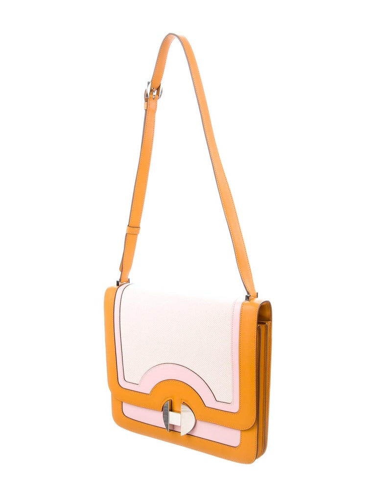 Hermes Orange Pink Leather Canvas Top Handle Satchel Saddle Shoulder Flap Bag In Good Condition For Sale In Chicago, IL