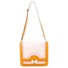 Hermes Orange Pink Leather Canvas Top Handle Satchel Saddle Shoulder Flap Bag