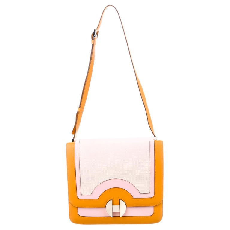 Hermes Orange Pink Leather Canvas Top Handle Satchel Saddle Shoulder Flap Bag For Sale