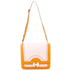 Hermes Orange Pink Leather Canvas Top Handle Satchel Saddle Shoulder Flap Bag