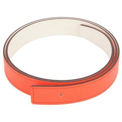HERMES Orange Poppy Craie White 24mm Reversible Belt Strap 75 Epsom leather