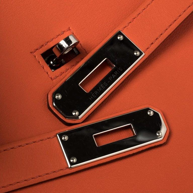 Hermes Orange Poppy Swift Leather Palladium Hardware Jypsiere 28 Bag For Sale 6