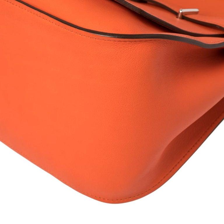 Hermes Orange Poppy Swift Leather Palladium Hardware Jypsiere 28 Bag For Sale 7