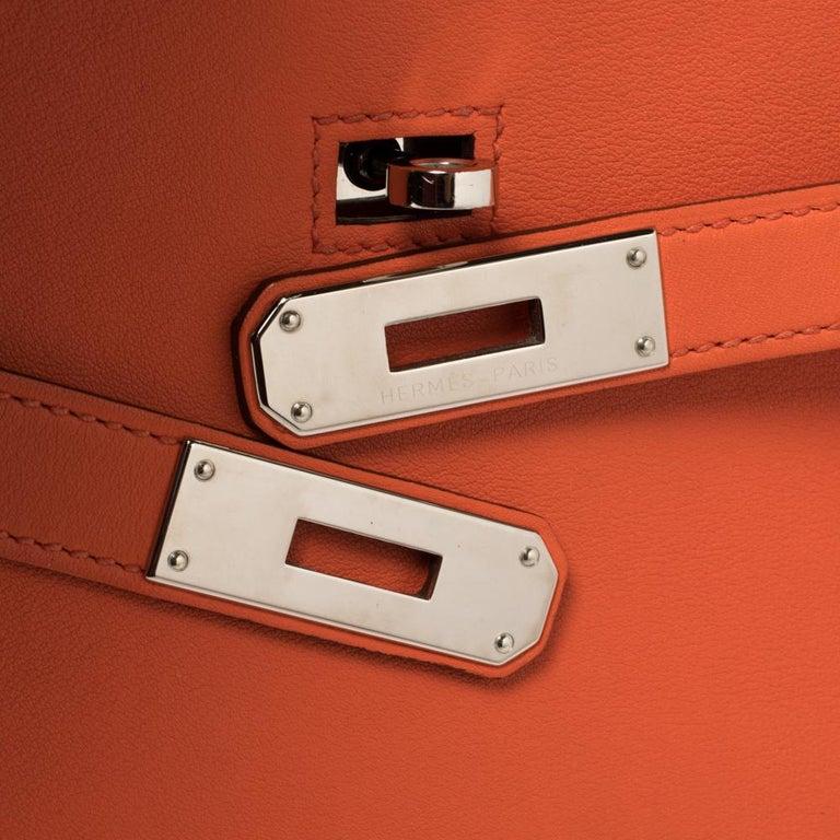 Hermes Orange Poppy Swift Leather Palladium Hardware Jypsiere 28 Bag For Sale 8