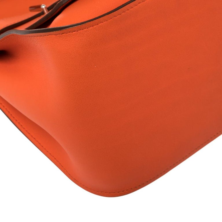 Hermes Orange Poppy Swift Leather Palladium Hardware Jypsiere 28 Bag For Sale 10