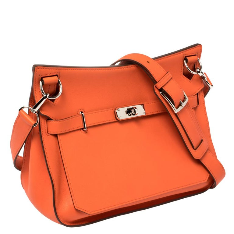 Hermes Orange Poppy Swift Leather Palladium Hardware Jypsiere 28 Bag In Good Condition For Sale In Dubai, Al Qouz 2