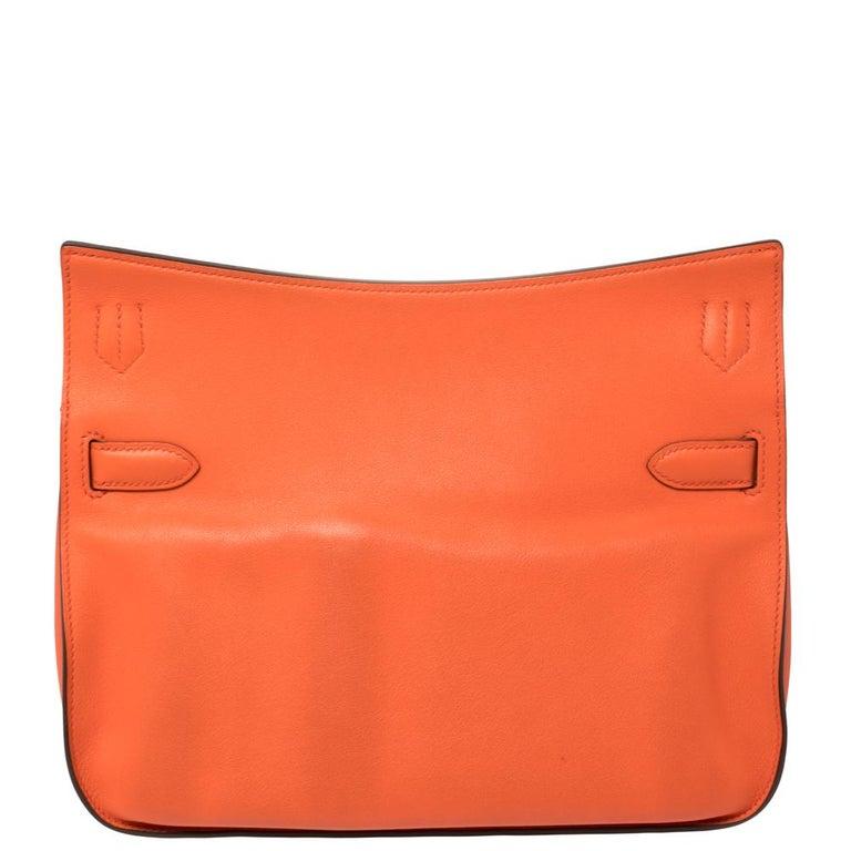 Women's Hermes Orange Poppy Swift Leather Palladium Hardware Jypsiere 28 Bag For Sale