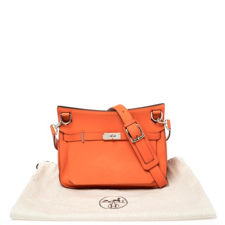 Hermes Orange Poppy Swift Leather Palladium Hardware Jypsiere 28 Bag For Sale 2