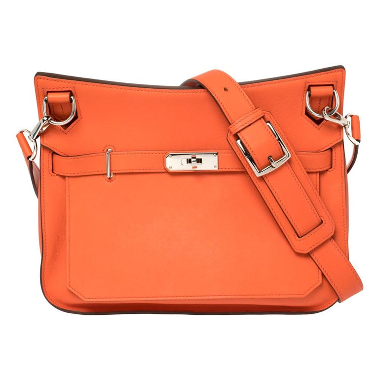 Hermes Orange Poppy Swift Leather Palladium Hardware Jypsiere 28 Bag For Sale