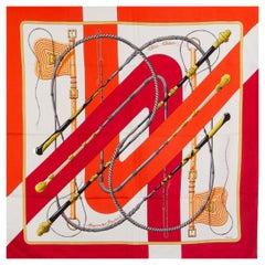 HERMES orange red silk twill CLIC CLAC 90 Scarf