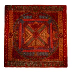 "Hermes Orange/Red ""Sur Un Tapis Volant"" Silk & Cashmere 140cm Scarf Shawl"