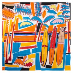HERMES orange SEA, SURF AND FUN 140 TWILL silk Shawl Scarf