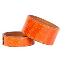 HERMES orange shiny crocodile 'Neo' Bangle Bracelet M