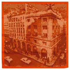 HERMES orange silk twill RENDEZ-VOUS AU 24 70 Scarf