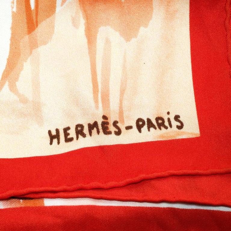 Women's Hermes Orange Sur Les Rives Du Leman Printed Silk Square Scarf