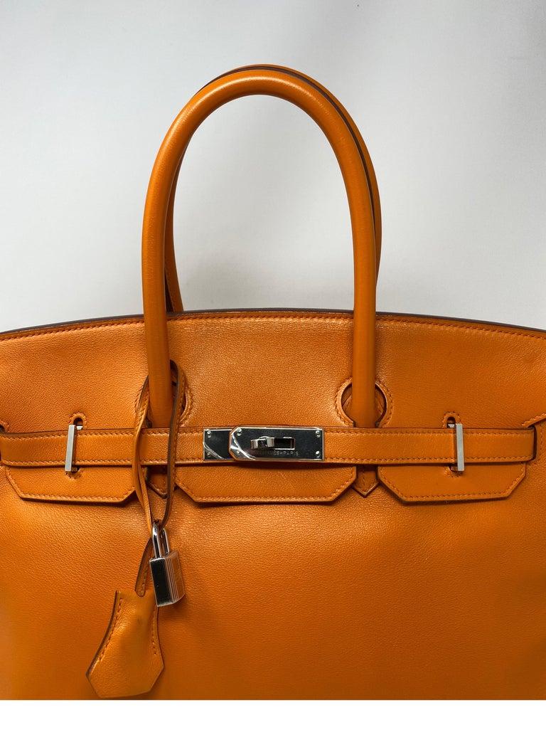 Hermes Orange Swift Birkin 35 Bag For Sale 9