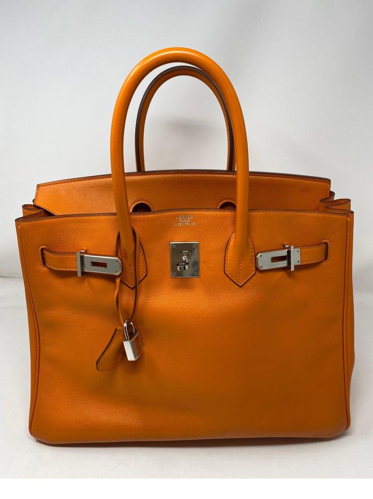Hermes Orange Swift Birkin 35 Bag For Sale 14