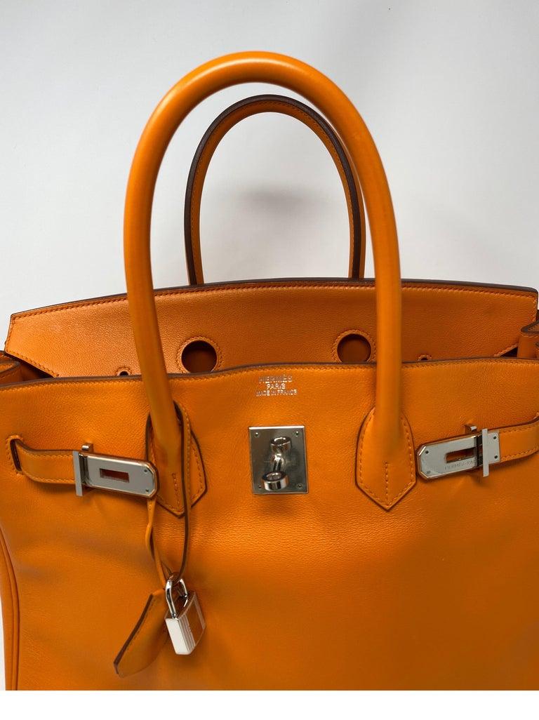 Hermes Orange Swift Birkin 35 Bag For Sale 15