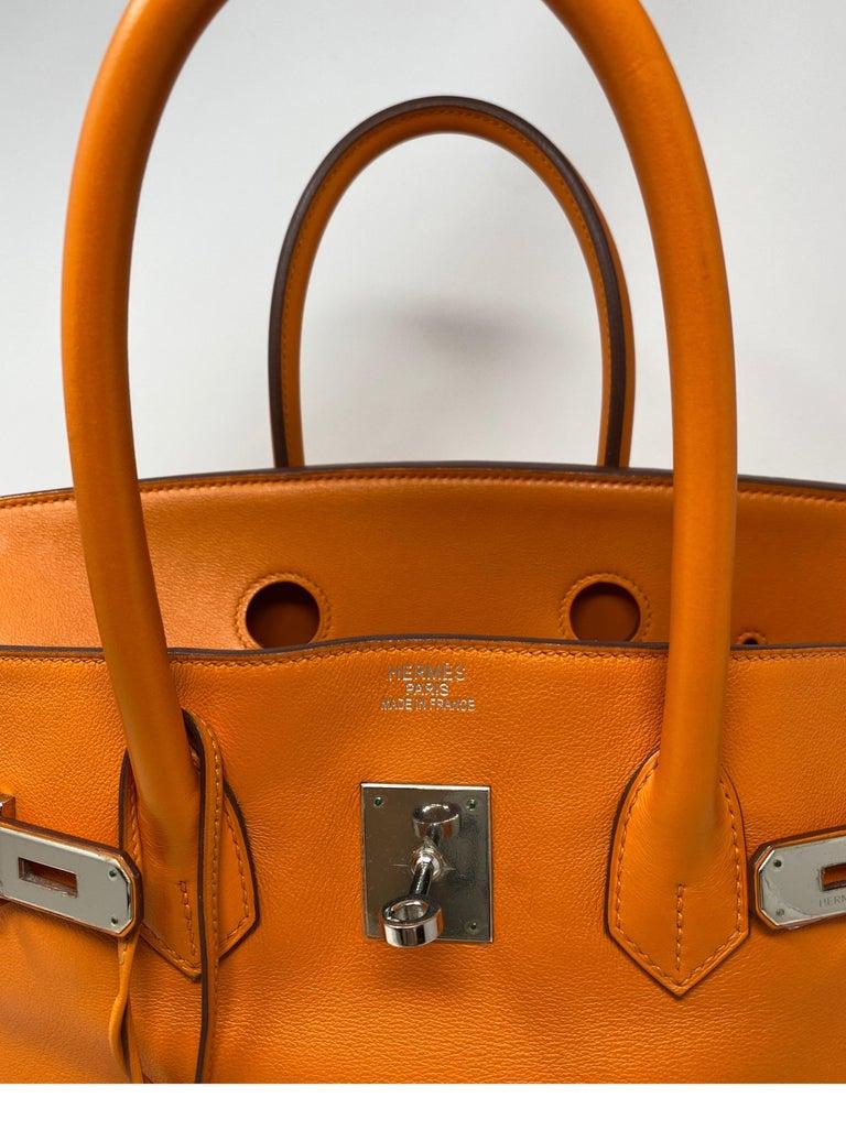 Hermes Orange Swift Birkin 35 Bag For Sale 16