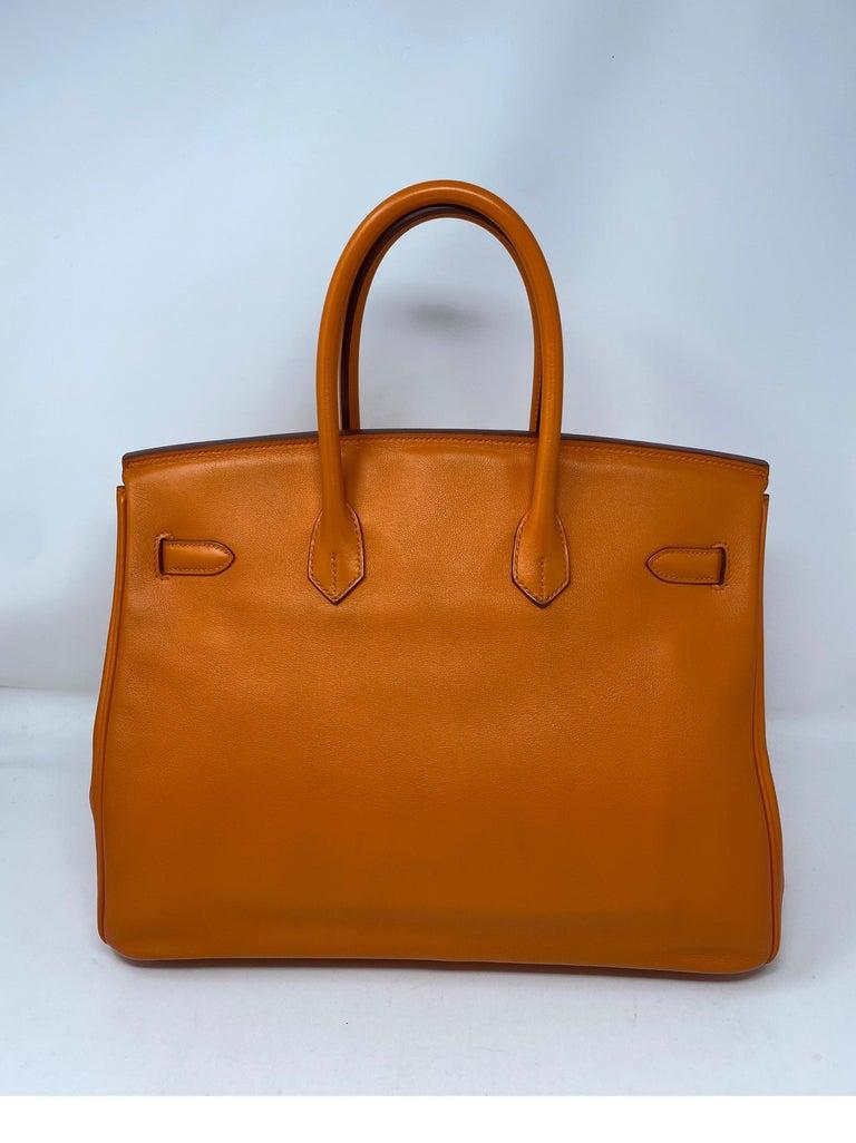 Hermes Orange Swift Birkin 35 Bag For Sale 1