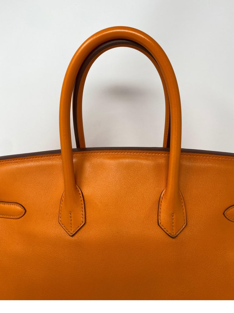 Hermes Orange Swift Birkin 35 Bag For Sale 2